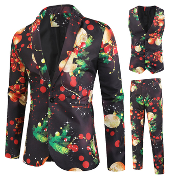Newest Litthing Mens Christmas Suit Different Prints Xmas Prom Costume Include Jacket Pants Waistcoat Fashion Men Celebrating