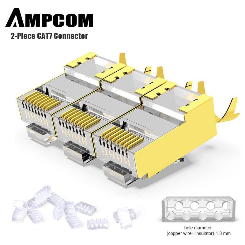 AMPCOM 2-Piece CAT6A & CAT7 Shielded RJ45 Modular Plug Connector 50UM 8P8C - RJ45 Connector Network Cable Connector