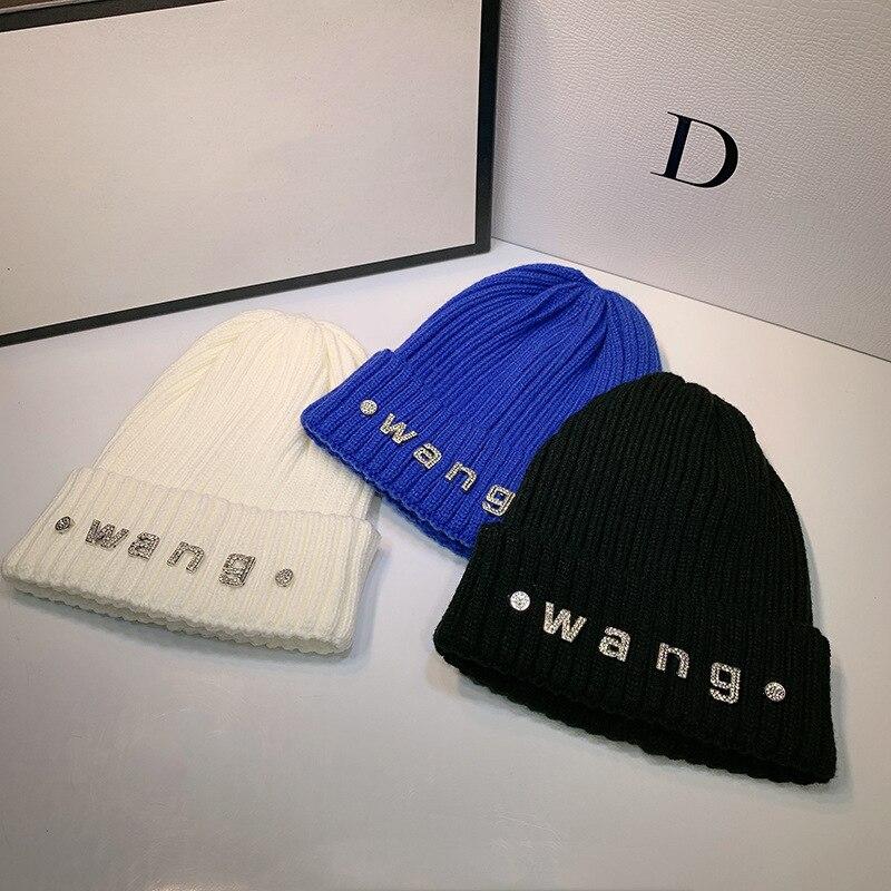 New Ladies Temperament Rhinestone Woolen Hat Ladies Winter Hat Warm Hat Men European and American Fashion Wild Knit Hat Women