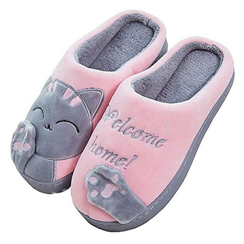 Женские зимние домашние тапочки; Обувь с рисунком кота; Нескользящие мягкие зимние теплые домашние тапочки; Домашние тапочки для влюбленных пар Тапочки      АлиЭкспресс