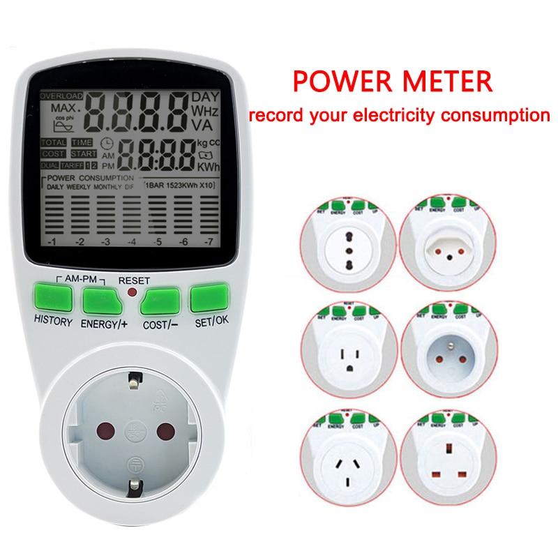 Digital Wattmeter LCD Energy Meter Wattage Brazil AU US UK EU Plug Electricity Kwh Power Meter Measuring Outlet Power Analy