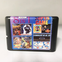 Super Game 8 In 1 Multi Game Cartridge With Robocop Tiny Toon Golden Axe Shadow Dancer For 16 bit Sega Mega Drive / Genesis(China)