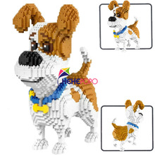 2000+pcs 16013 Mike Dog Building Blocks Diamond Micro Small Particles Spelling Toy Pet Dog Block Model Toys for Children Gifts