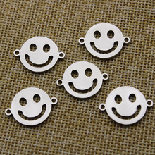 5pcs 16x21mm Stainless Steel Smile Charm Pendant for Jewelry Making Bracelet Necklace Connector DIY Handmade Jewelry Findings