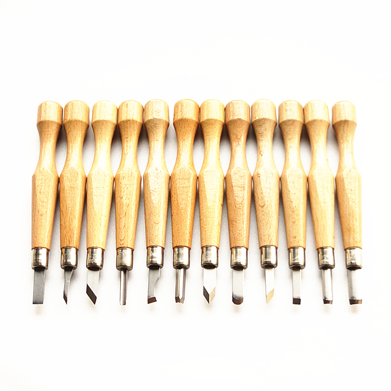 12 Kinds Wood Carving Chisels Knife Basic Wood Cut DIY Engraving Tools Detailed Woodworking Hand Tool