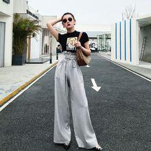 Туника широкие брюки женские Высокая талия шнуровка макси брюки, большой размер Летняя мода Женская OL одежда