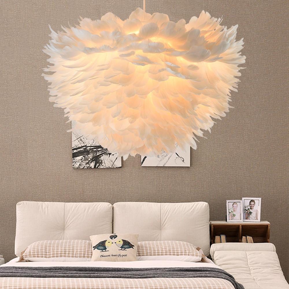Feather Hanging Lamps Lights Bedroom Nordic Pendant Lamp Romantic Modern Minimalist Creative Living Room Post Modern Princess