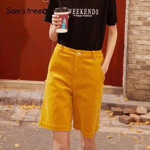 Женские вельветовые шорты-бермуды SAM'S TREE, однотонные желтые шорты с высокой талией и широкими штанинами, базовая модель на весну 2020