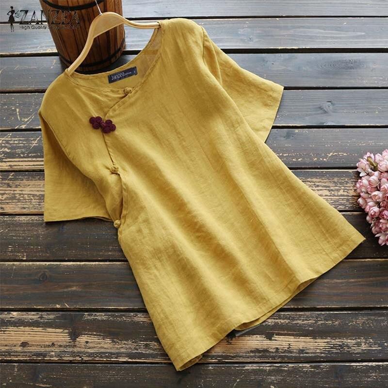 ZANZEA Summer Cotton Linen Shirt Women Vintage Short Sleeve Buttons Tops Female Casual Blouse Femininas Blusas Loose Chemise