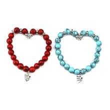 цена New High Quality Blue Red Round shape Natural Stone Bracelet Homme Femme Charms Strand Beads Yoga Bracelets Jewelry онлайн в 2017 году