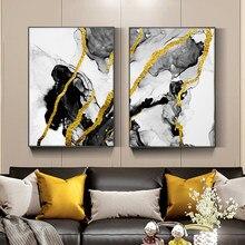 Abstrait doré géométrique toile peinture moderne luxe couleur bloc affiches et impressions Cuadros mur Art photo pour salon