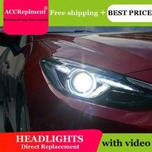 Dành Cho Xe Mazda 3 2014 2016 Đèn Pha Tất Cả Các Đèn Pha LED DRL Năng Động Tín Hiệu Giấu Đầu Đèn Bi Xenon Tia Phụ Kiện kiểu Dáng Xe