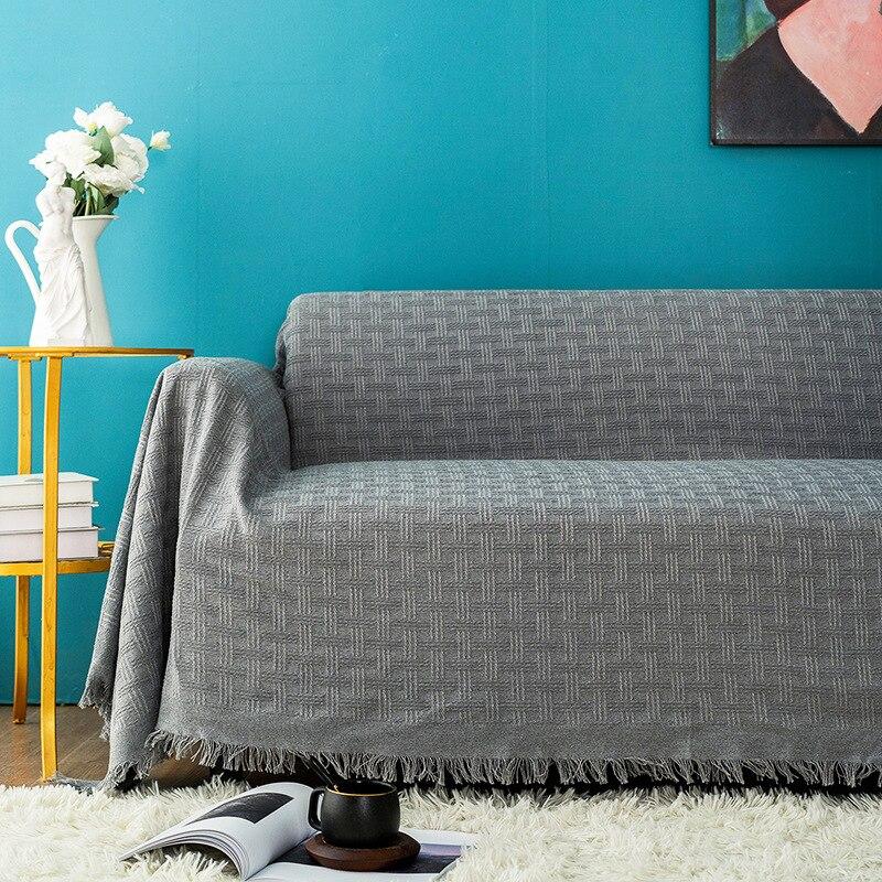 Nova moda sofá toalha lance cobertor cor sólida tricô sofá cobre cobertor manta toalha slipcovers proteger capa decoração da sua casa