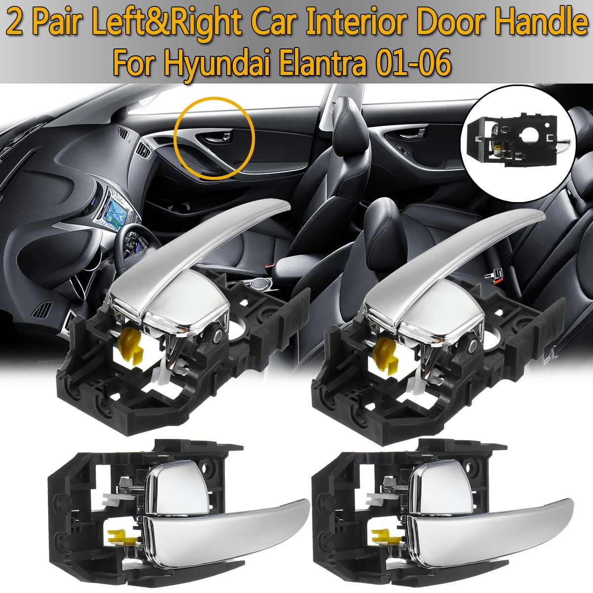 1Pc Door Handle for 01-05 Hyundai Elantra Black Exterior Rear Left Side