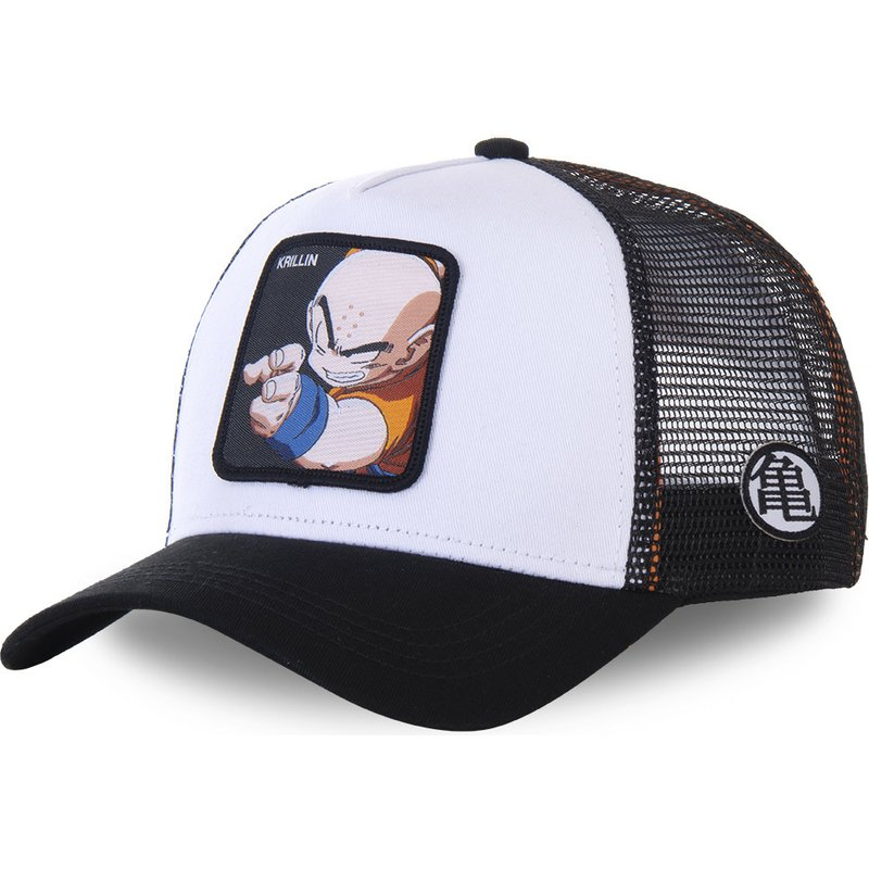 capslab-krillin-kri-dragon-ball-white-and-black-trucker-hat