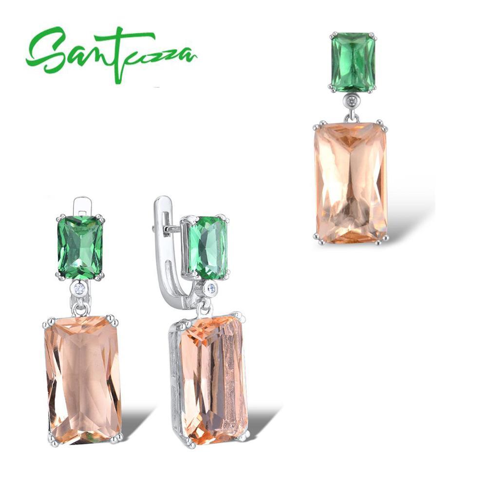 SANTUZZA Silver Jewelry Set For Women Genuine 925 Sterling Silver Octagon Green Orange Crystal Pendant Earrings Set Fine Jewelry