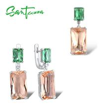 SANTUZZA Jewelry-Set Pendant Crystal Silver 925-Sterling-Silver Women for Genuine Green