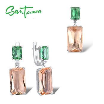 SANTUZZA Silver Jewelry Set for Women Genuine 925 Sterling Octagon Green Orange Crystal Pendant Earrings Fine