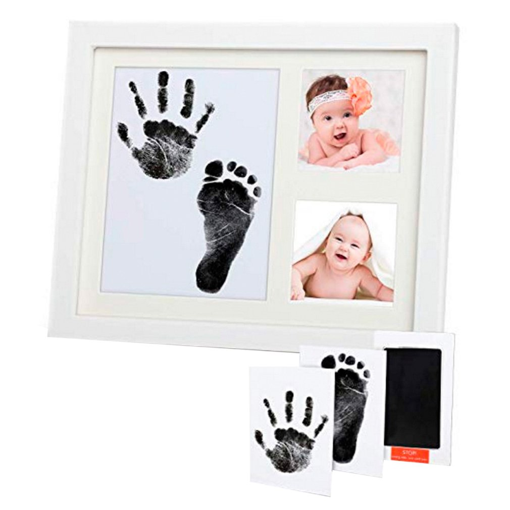Baby Hand And Foot Print Mud Frame Newborn Baby Solid Wood Hand And Foot Disposable Wash Ink Baby Paw Pad