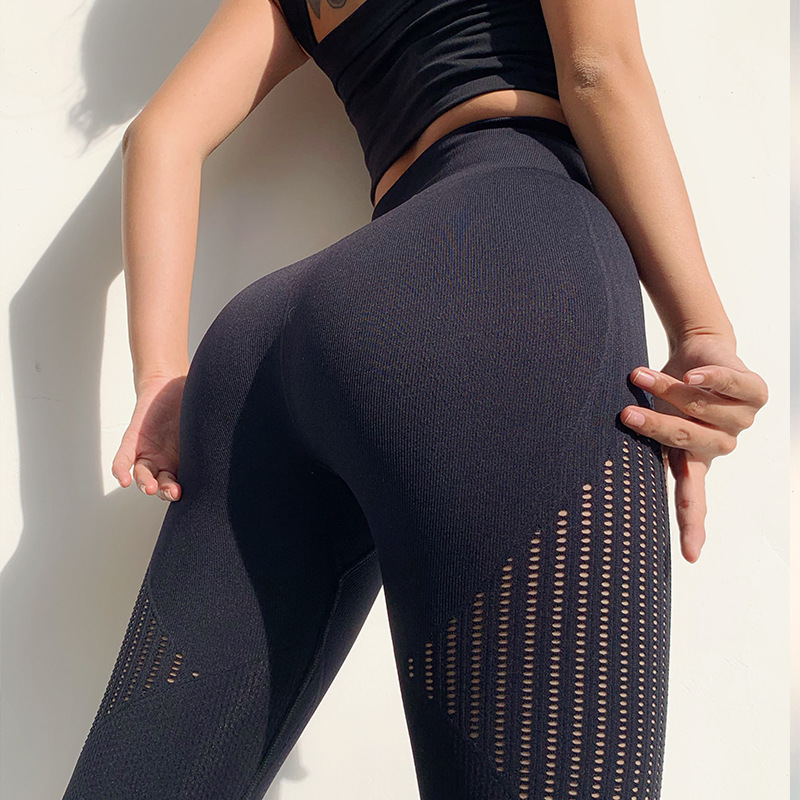 ZZSLHL Energy Seamless Gym Legging Women Summer Thin Yoga Pant Breathable Fitness Sports Capri Pant Hollow Out Design High Waist