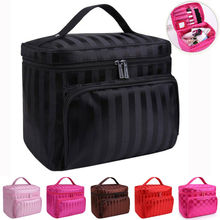 цены Large Cosmetic Bags Beauty Make Up Nail Tech Cosmetic Box Jewelry Vanity Storage Bag