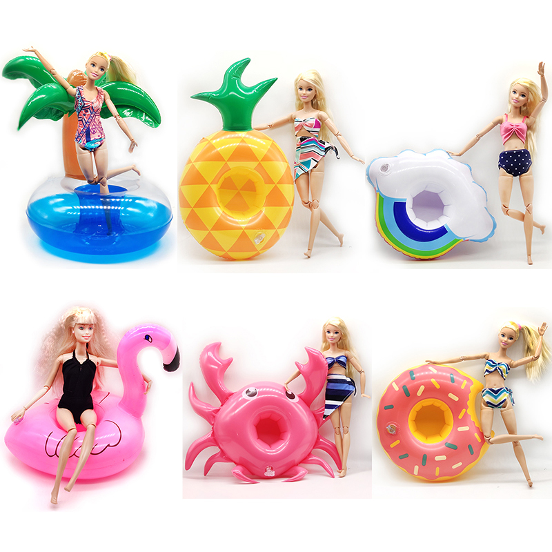 Barbie Doll Accessories Fashion Doll Clothes Swimwear And Swim Ring Toys For Children Barbie Boneca Furniture Girls Summer Toys