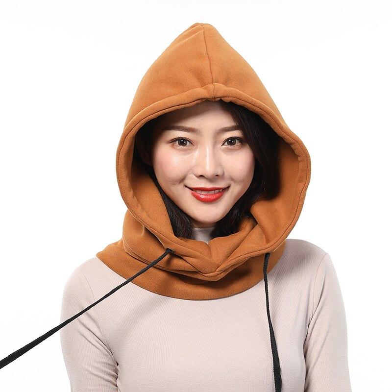 Zocept inverno algodão chapéu feminino quente grosso orelha pescoço proteção beanies feminino 2 camada com capuz colarinho removível drawstring cap