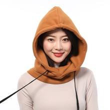 Zocett chapeau en coton pour femmes, bonnet chaud et épais de Protection du cou des oreilles, 2 couches, col à capuche, casquette avec cordon de serrage amovible