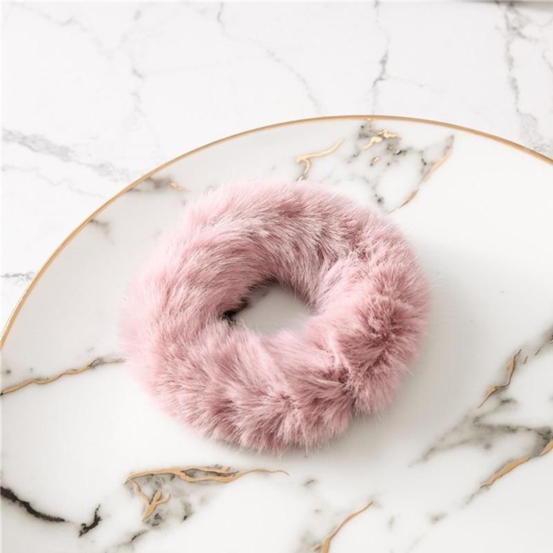 Мягкая Плюшевая повязка для волос резинки для волос натуральный мех кроличья шерсть мягкие эластичные резинки для волос для девочек однотонный цветной хвост резинки для волос для женщин - Цвет: Розовый