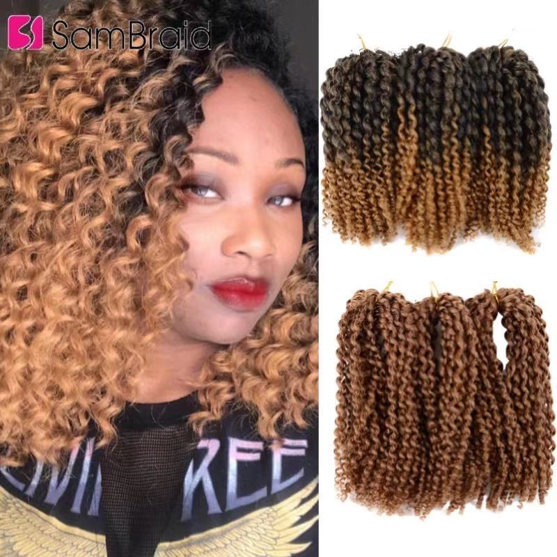 SAMBRAID 8 Inch Passion Kinky Twist Crochet Braids Marlybob For Hair Synthetic Braiding Hair Extensions Marley for Afro Women