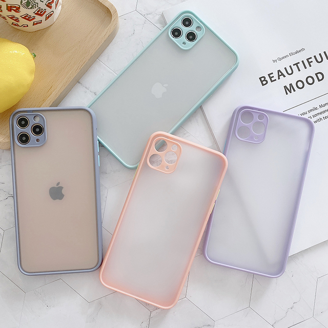 Camera Lens Protection Phone Case on For iPhone 11 Pro Max 6 6S 7 8 Plus XR XSMax X XS SE 2020 Candy Color Soft Back Cover Gift 5