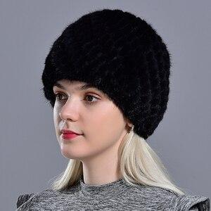 Image 3 - winter womens mink fur hats natural real fur knitted cap fashionable fluffy ladies genuine fur beanie female black fur caps