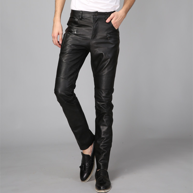 Men 2020 New Windproof Motorcycle Biker Genuine Leather Skinny Pants Rock Casual Spring Full Length Pleated Punk Male Trousers