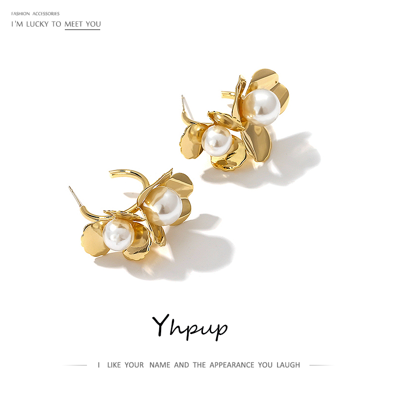 Yhpup Fashion Elegant Flower Stud Earrings Imitation Pearls Copper Gold Earrings Statement Beauty Jewelry For Women Party Gift
