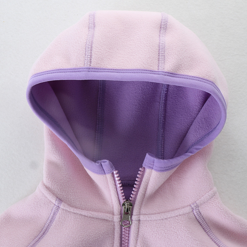 Jacket Kids Girl Hooded Long Sleeve Boy Outerwear Strawberry Embroidery Polar Fleece Coat Children Clothes For 18M-7 Years 5