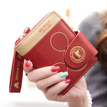 New Fashion Woman Small Wallet Brand Cartoon Mickey Cute Wallet Buckle Card Holder Girl Purse Short Zipper Wallet Gift