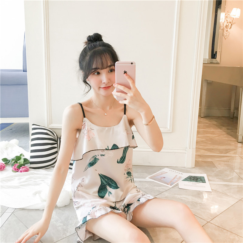Pajamas Women's Summer Korean-style Fresh Students Viscose Slip Nightdress Summer Women's Home Wear Model Silk Sexy