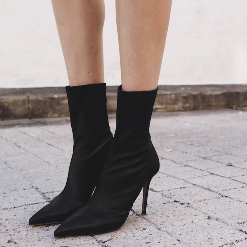 Women stretch boots large size Female pointed thin with high heels black