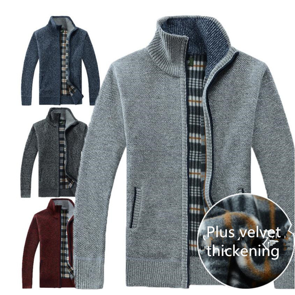 Autumn Winter Men's Sweater Coat Faux Fur Wool Sweater Jackets Men Zipper Knitted Thick Coat Warm Casual Knitwear M-3XL