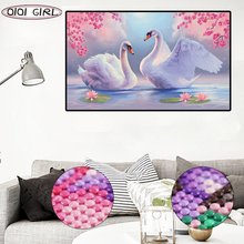 Swan Modern Art Painting Diy Diamond Resin Cabochon Whole Square Embroidery  Home Decoration Needlework