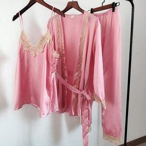 Image 5 - ZOOLIM Frauen Pyjamas Sets mit Hosen 5 Stück Satin Nachtwäsche Pijama Seide Stickerei Schlaf Lounge Pyjama mit Brust Pads
