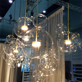 Customized Living room Chandelier Modern Clear Glass Bubble Lamp Chandelier for Children room Indoor Decor Light Fixture modern design glass ball chandelier 6 heads glass bubble lamp chandelier for living room kitchen light fixture