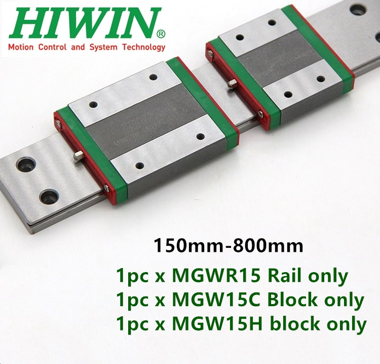 Hiwin Linear Guide MGW15 150 200 250 300 330 350 400 450 500 550 600 Mm MGWR15 Rail Match MGW15C MGW15H Block Carriage CNC Part