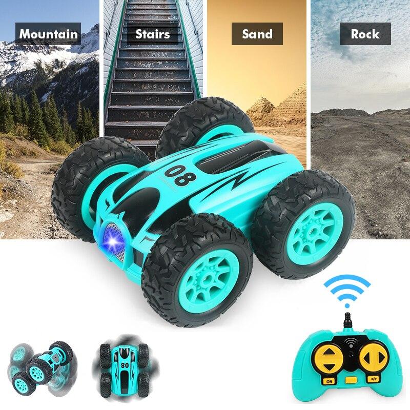 3.7 polegada rc carro 2.4g 4ch duplo-face salto deriva dublê carro rock crawler rolo carro 360 graus flip controle remoto carros crianças brinquedos
