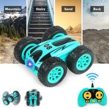 3.7 inç RC araba 2.4G 4CH çift taraflı sıçrama Drift dublör araba kaya paletli rulo araba 360 derece flip uzaktan kumanda arabalar çocuk oyuncakları