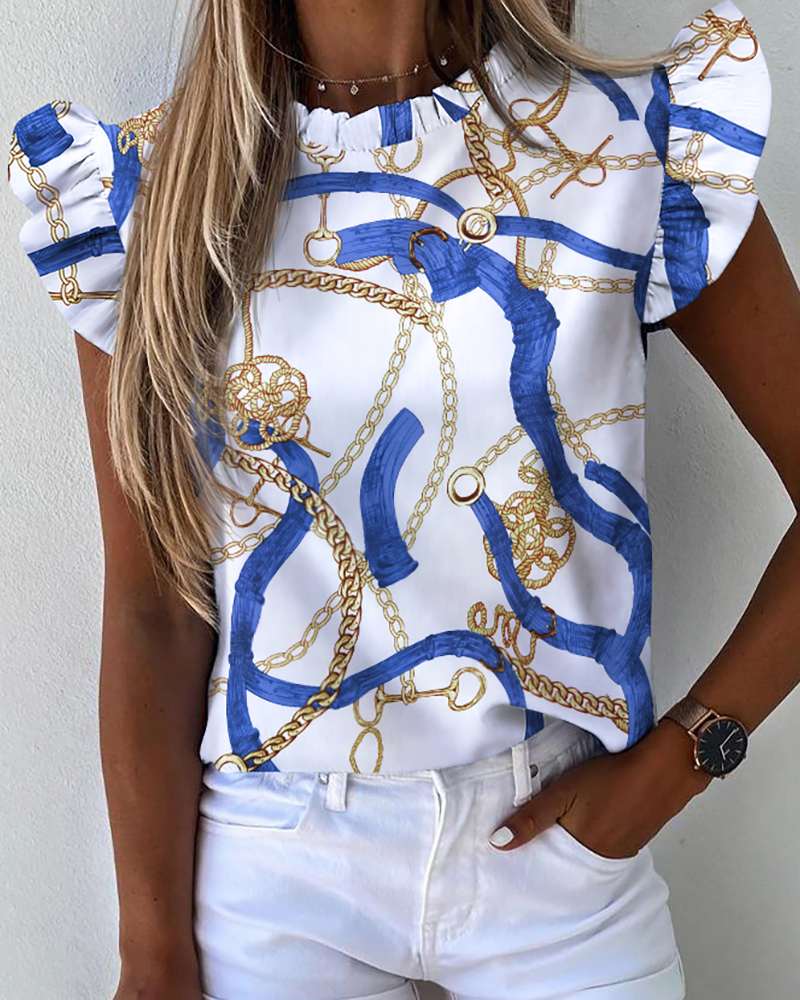 2020 Women Summer Elegant Chain Print Ruffles Sleeve Casual Top Lady Fashion Sexy Round Neck Blouse