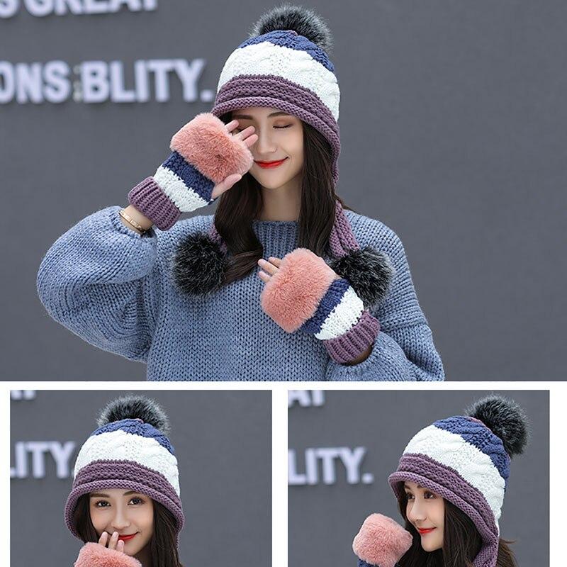 Calymel 2019 Women Beanies Wool Ball Winter Hat Keep Warming Acrylic шапка женская Bonnet Fashion Knitted Cap Ears Protector 34