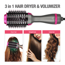 Multifunctional Hot-Air Comb Curling Brush One Step Hair Dry Negative Ion Straightening Brush Salon Curler Hair Styling Tool