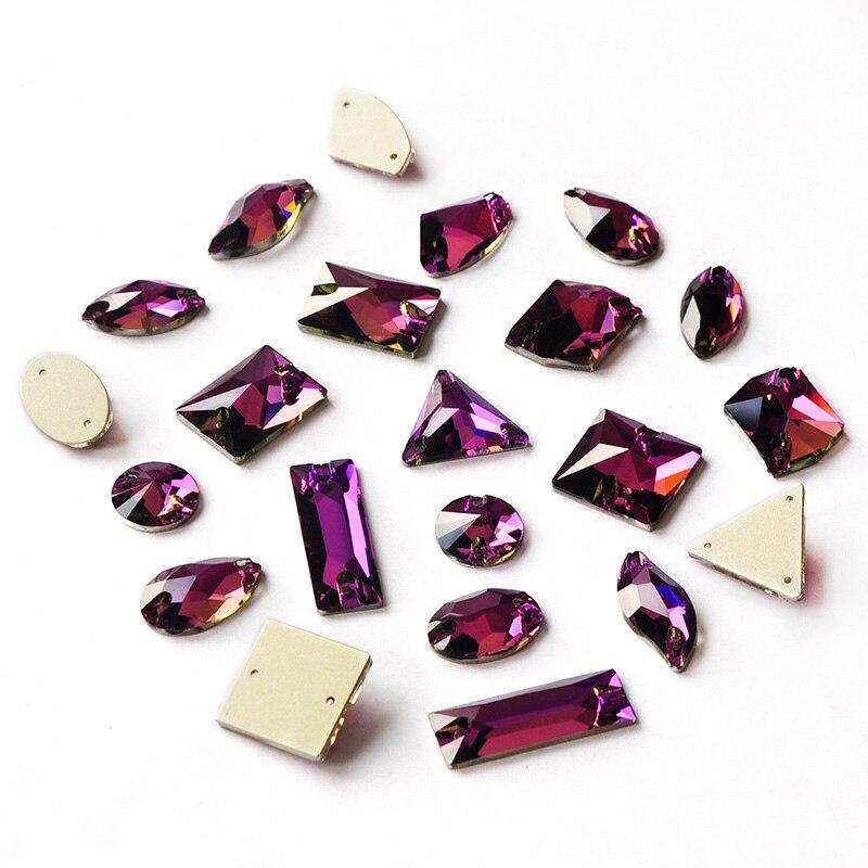 CTPA3bI Amethyst Strass Strass Glas Glitter Handwerk Zubehör Steine Flatback Kristalle Für Hand Kleidung Taschen