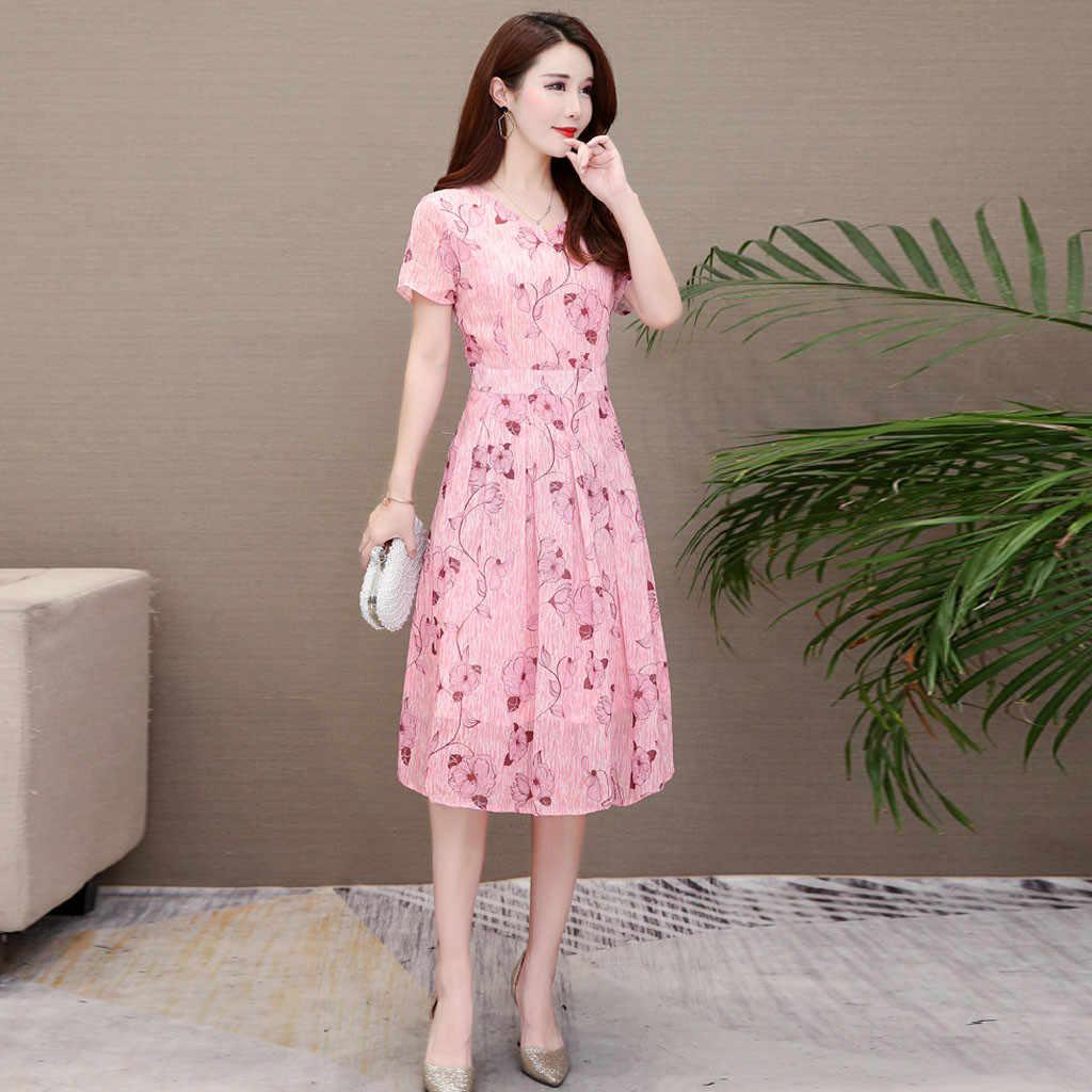 ファッション女性のカジュアル花プリント V ネック半袖 A ラインドレス女性のエレガントなフォーマルロング夏ドレス Elbise